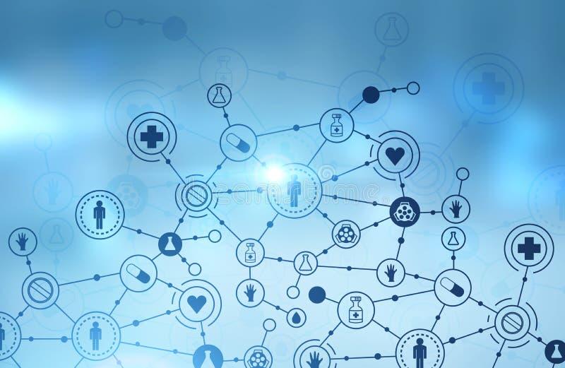 Les icônes médicales connectent, bleu-clair illustration stock