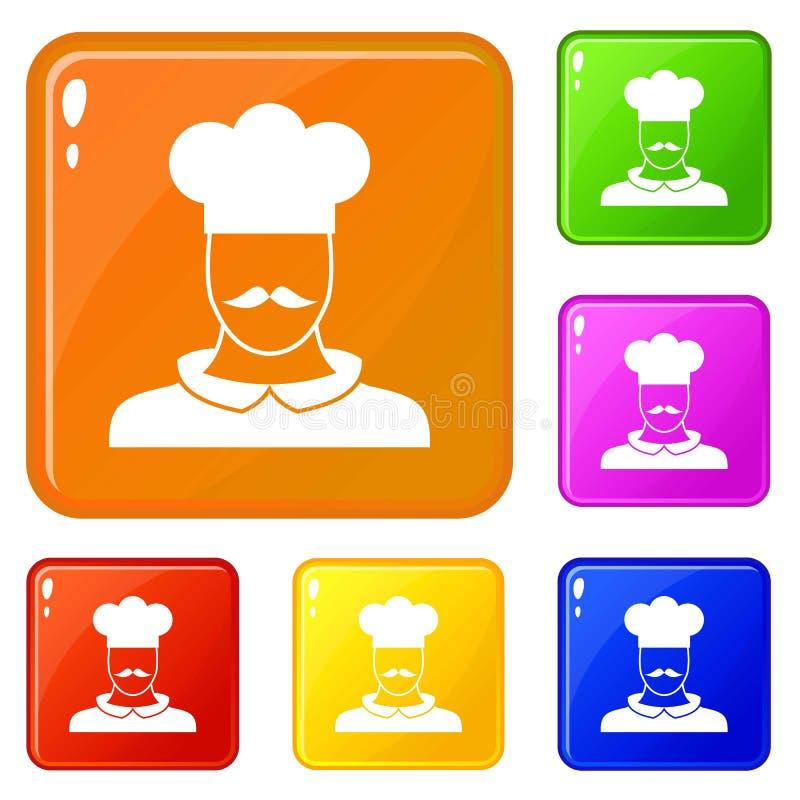Les icônes masculines de cuisinier de chef ont placé la couleur de vecteur illustration stock