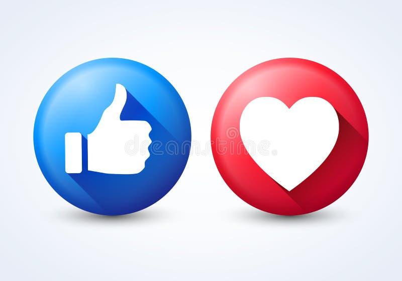 Les icônes modernes de vecteur comme et le coeur ont isolé Éléments de conception de bouton pour le réseau social illustration stock