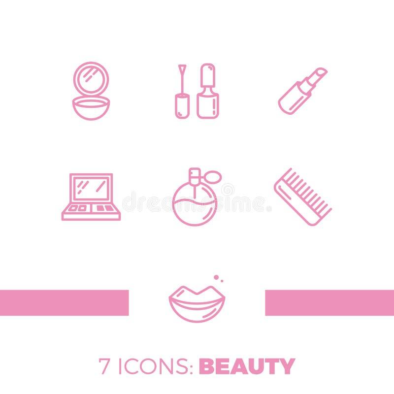 Les icônes modernes ont placé des cosmétiques, de la beauté, de la station thermale et des symboles illustration stock