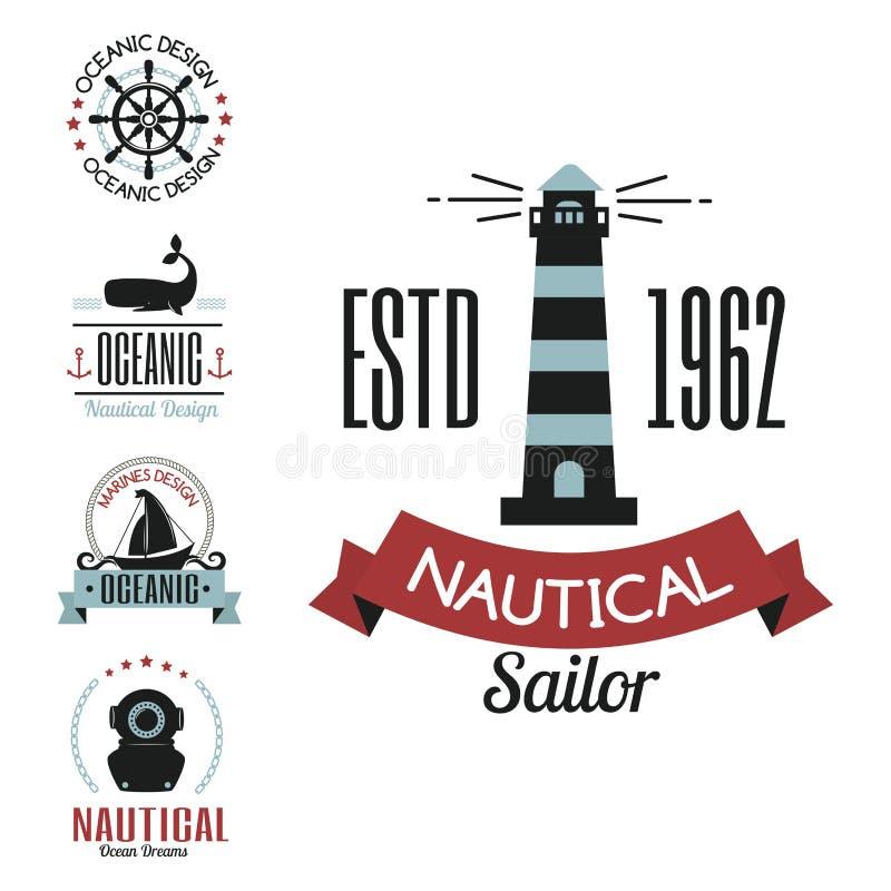 Les icônes nautiques de logo de vecteur marin de mer naviguant le label orienté ou avec le graphique d'élément de voyage de ruban illustration libre de droits