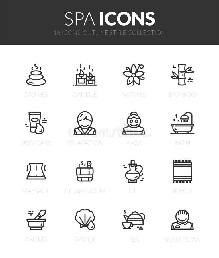 Les icônes noires d'ensemble ont placé dans le style mince de conception moderne illustration libre de droits