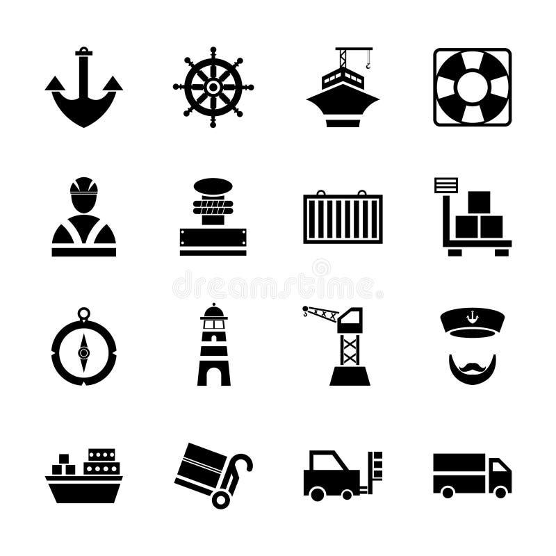 Les icônes noires de port maritime réglées avec des bateaux et le transport marin ont isolé l'illustration de vecteur illustration libre de droits