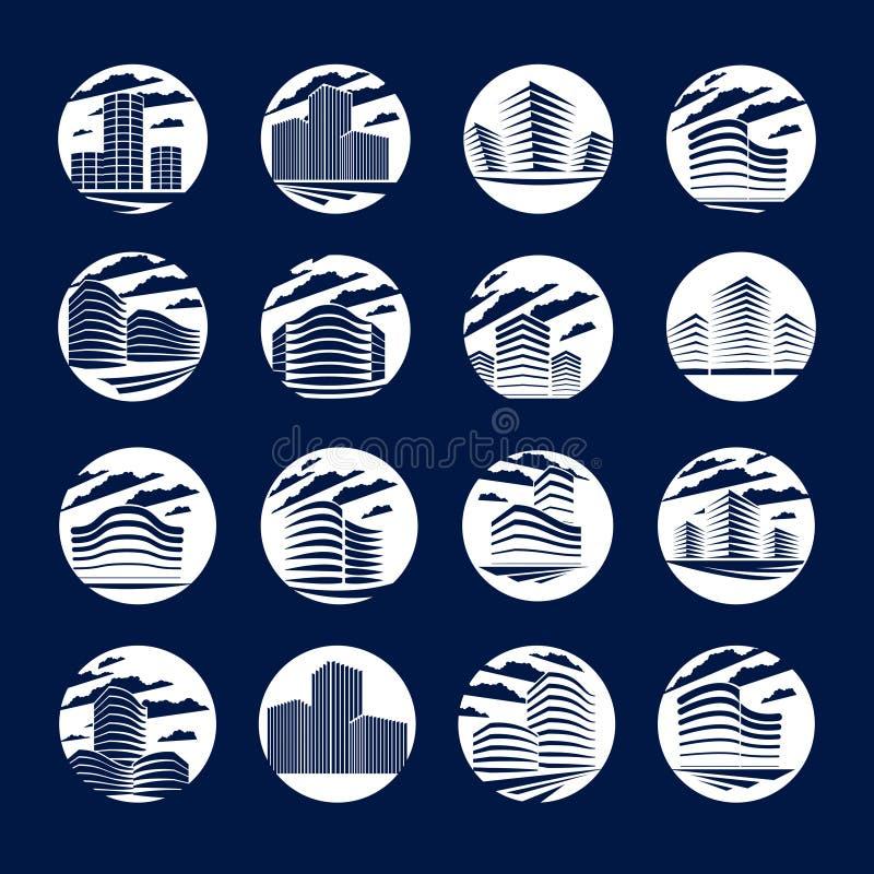 Les icônes ou les logos de forme ronde d'immeuble de bureaux ont placé, architecte moderne illustration stock