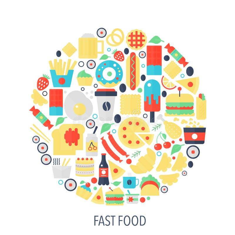 Les icônes plates d'infographics d'aliments de préparation rapide en cercle - colorez l'illustration de concept pour la couvertur illustration stock