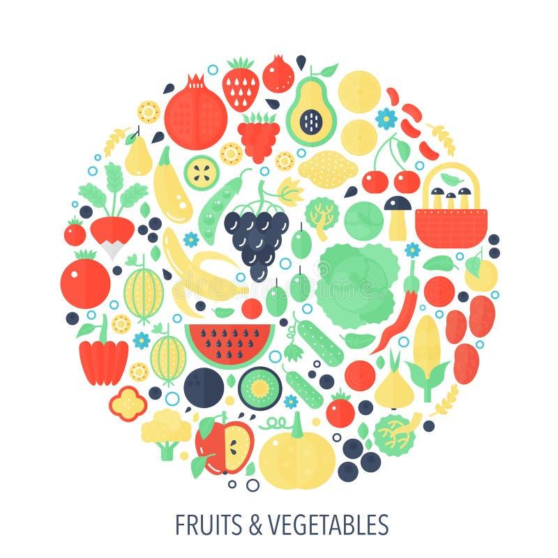 Les icônes plates d'infographics de légumes fruits en cercle - colorez l'illustration de concept pour la couverture végétale, emb illustration de vecteur