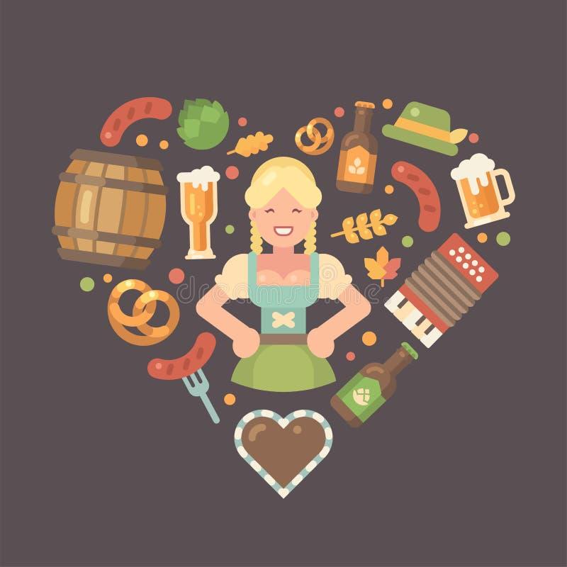 Les icônes plates d'Oktoberfest ont arrangé dans le coeur illustration stock