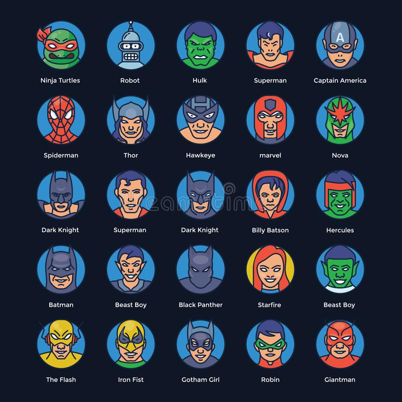 Les icônes plates de super héros et de voyous emballent illustration libre de droits