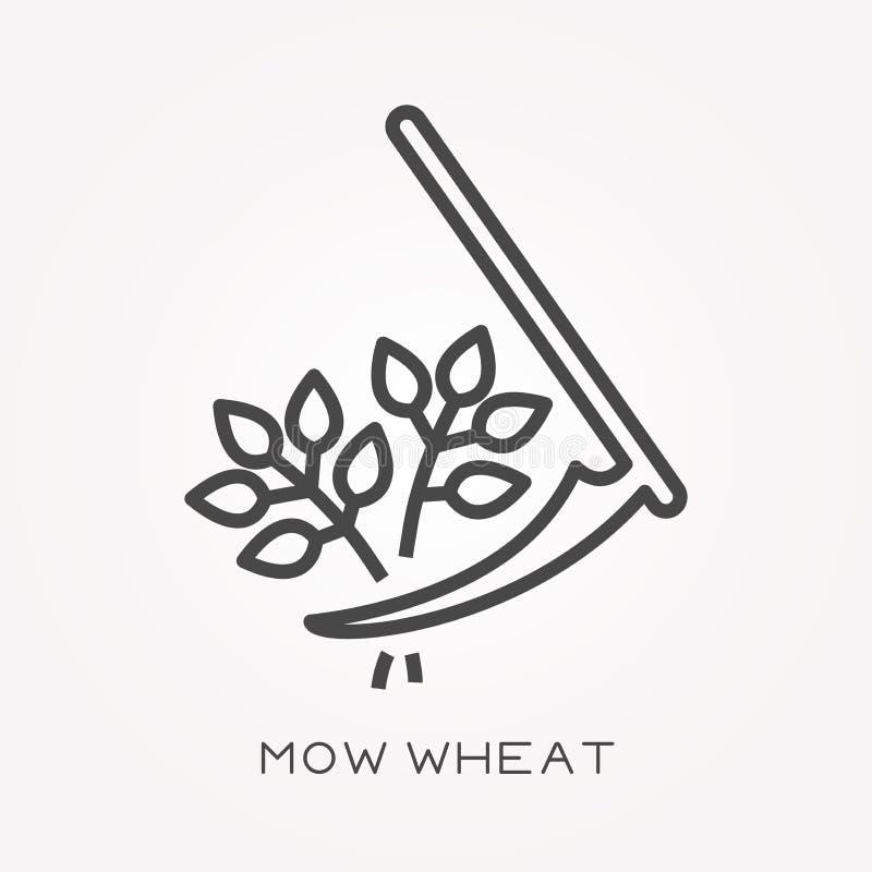 Les icônes plates de vecteur avec fauchent le blé illustration libre de droits