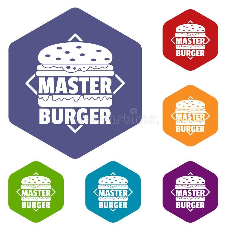 Les icônes principales d'hamburger dirigent le hexahedron illustration de vecteur