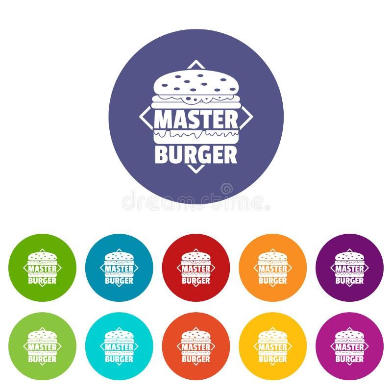 Les icônes principales d'hamburger ont placé la couleur de vecteur illustration stock