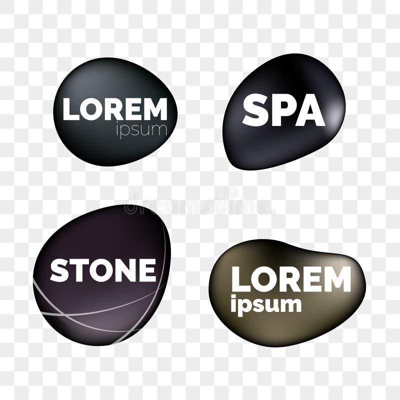 Les icônes réalistes des pierres 3D de STATION THERMALE sur le fond transparent pour le logo conçoivent Cailloux en pierre noirs  illustration libre de droits