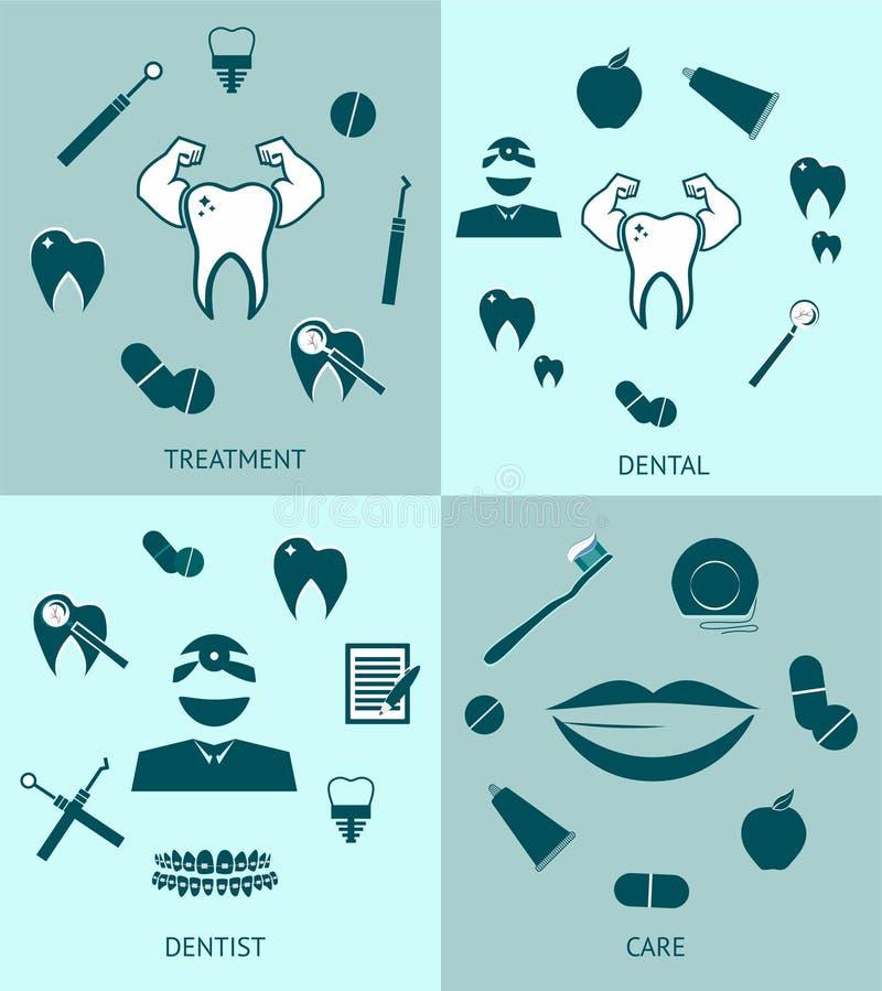 Les icônes réglées dentaires dirigent la conception de calibre illustration stock