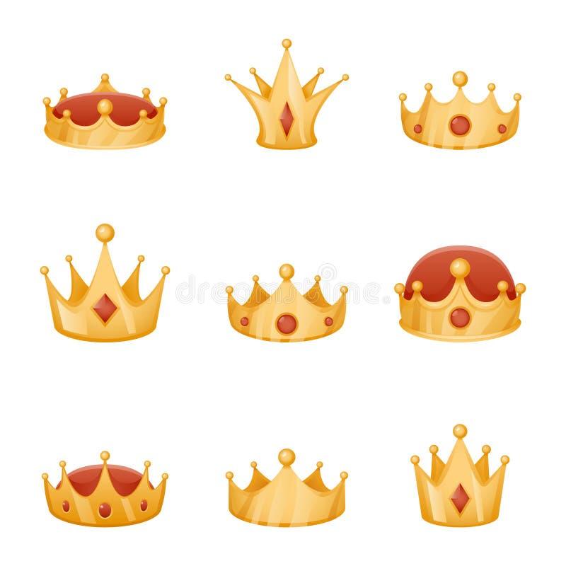Les icônes royales de bande dessinée de la puissance 3d de tête de couronne réglées ont isolé l'illustration de vecteur illustration stock
