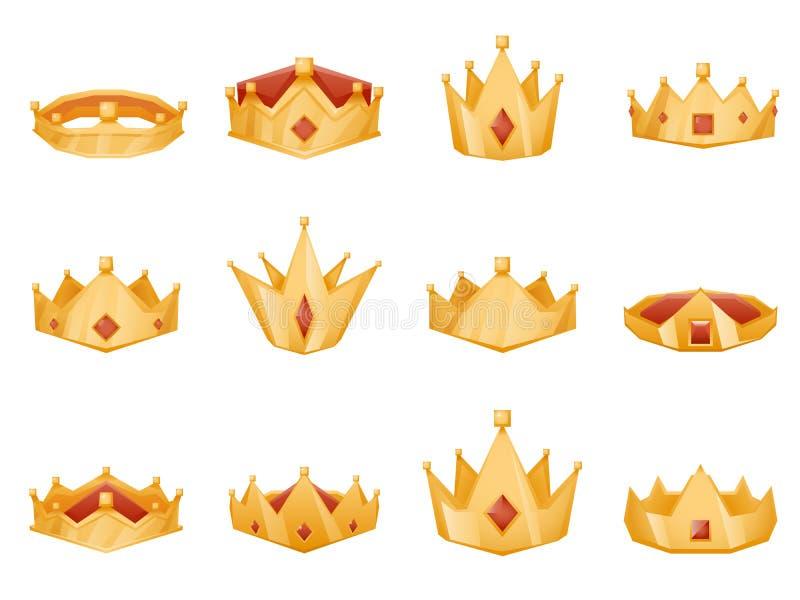 Les icônes royales polygonales de bande dessinée de la puissance 3d de tête de couronne réglées ont isolé l'illustration de vecte illustration libre de droits