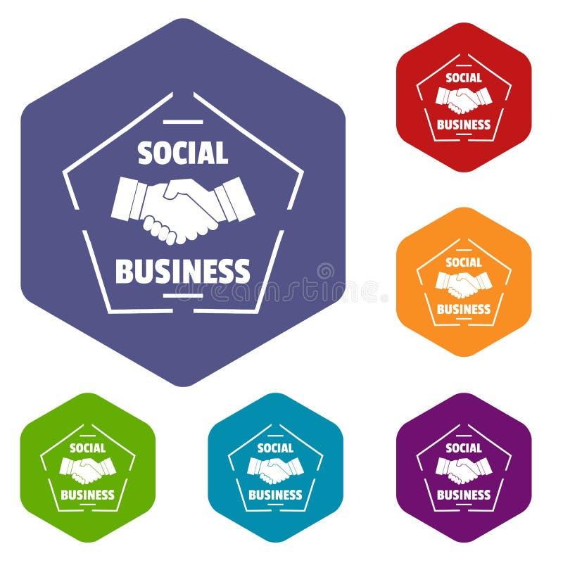 Les icônes sociales d'affaires dirigent le hexahedron illustration libre de droits