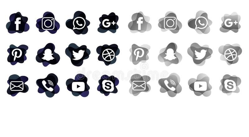 Les icônes sociales de médias empaquettent illustration libre de droits