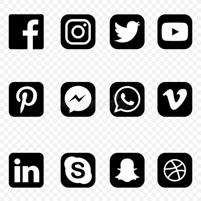 Les icônes sociales noires et blanches de media sur le fond transparent dirigent l'ensemble de haute qualité illustration libre de droits