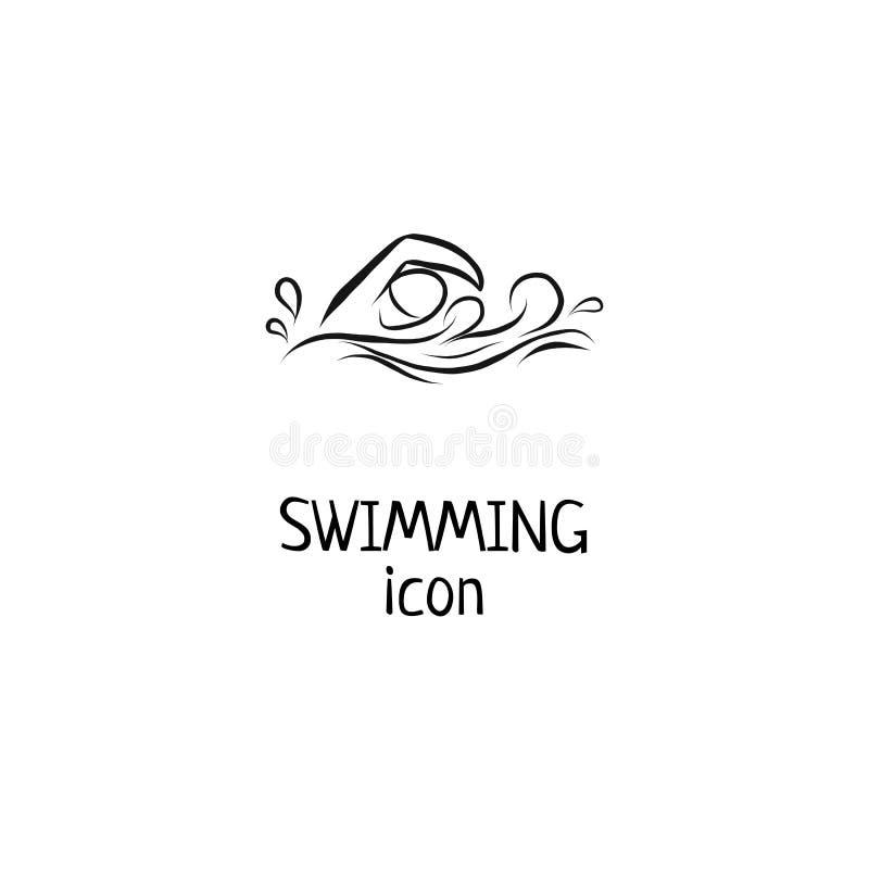 Les icônes tirées par la main de natation d'ensemble ont placé pour la manifestation sportive ou le marathon ou la concurrence ou illustration stock