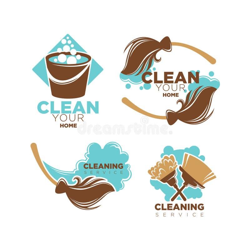 Les icônes à la maison de vecteur de service de nettoyage ont placé des balais et des brosses de chiffon illustration de vecteur