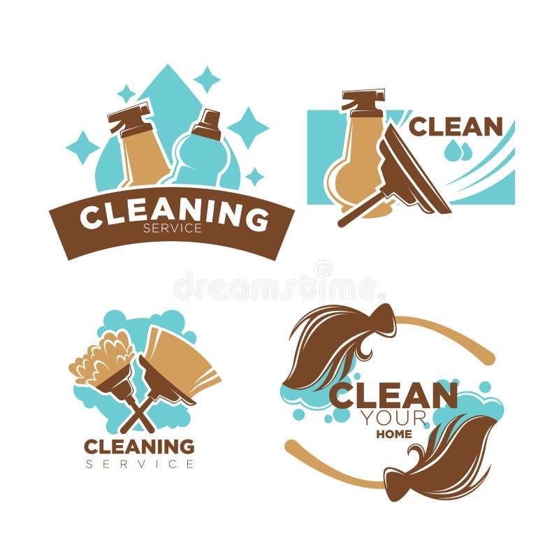 Les icônes à la maison de vecteur de service de nettoyage ont placé les balais, la brosse de chiffon et le détergent illustration libre de droits