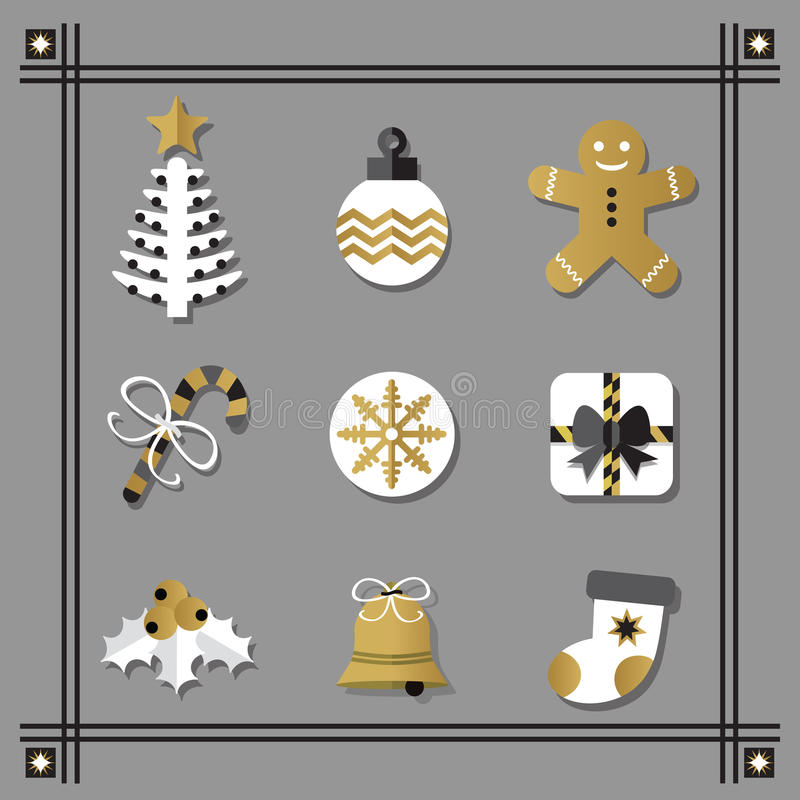 Les icônes à plat blanches et d'or de Noël ont placé avec la frontière noire illustration libre de droits