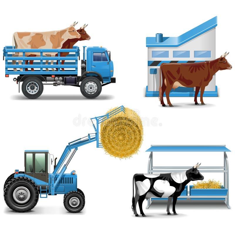 Les icônes agricoles de vecteur ont placé 3 illustration libre de droits