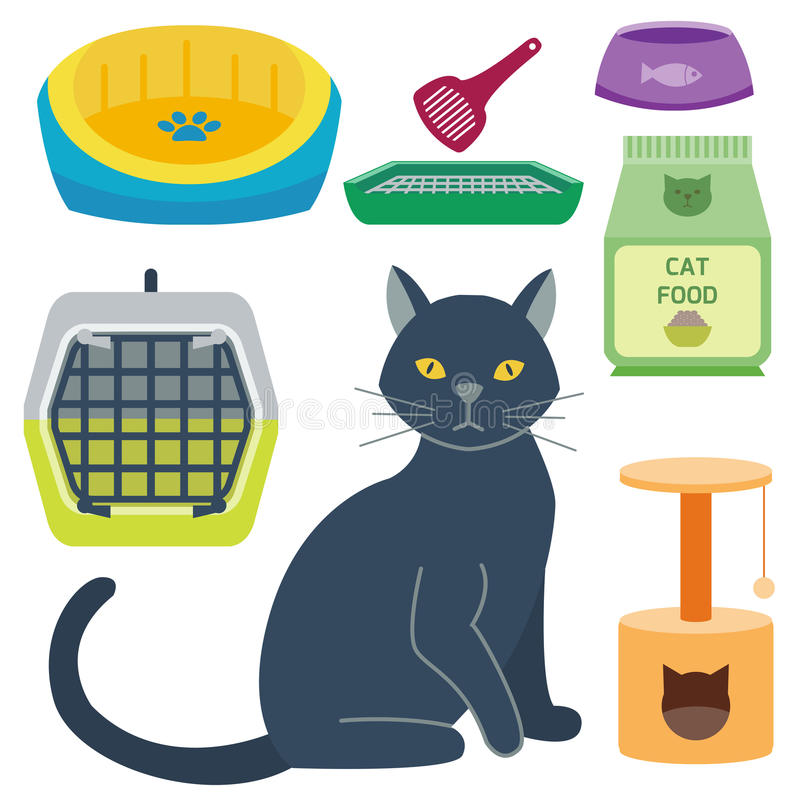 Les icônes animales de vecteur mignon accessoire coloré de chat choient l'illustration féline domestique de nourriture d'équipeme illustration libre de droits