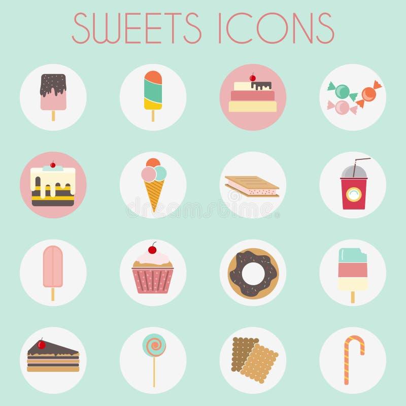 Les icônes colorées de bonbons réglées, de boulangerie crème illustration stock