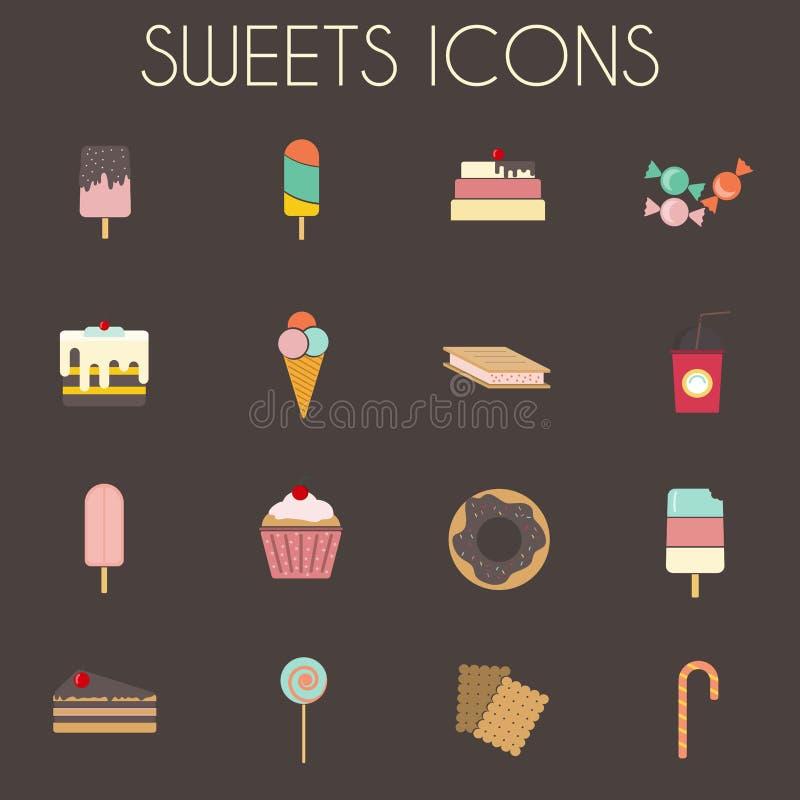 Les icônes colorées de bonbons réglées, de boulangerie crème illustration libre de droits