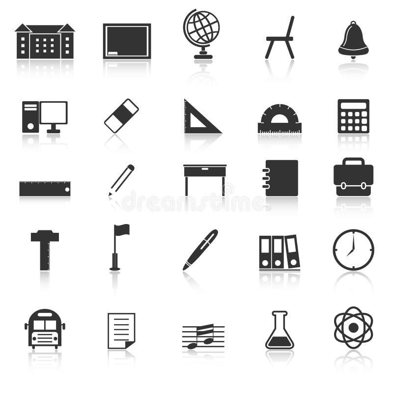 Les icônes d'école avec réfléchissent sur le fond blanc illustration de vecteur