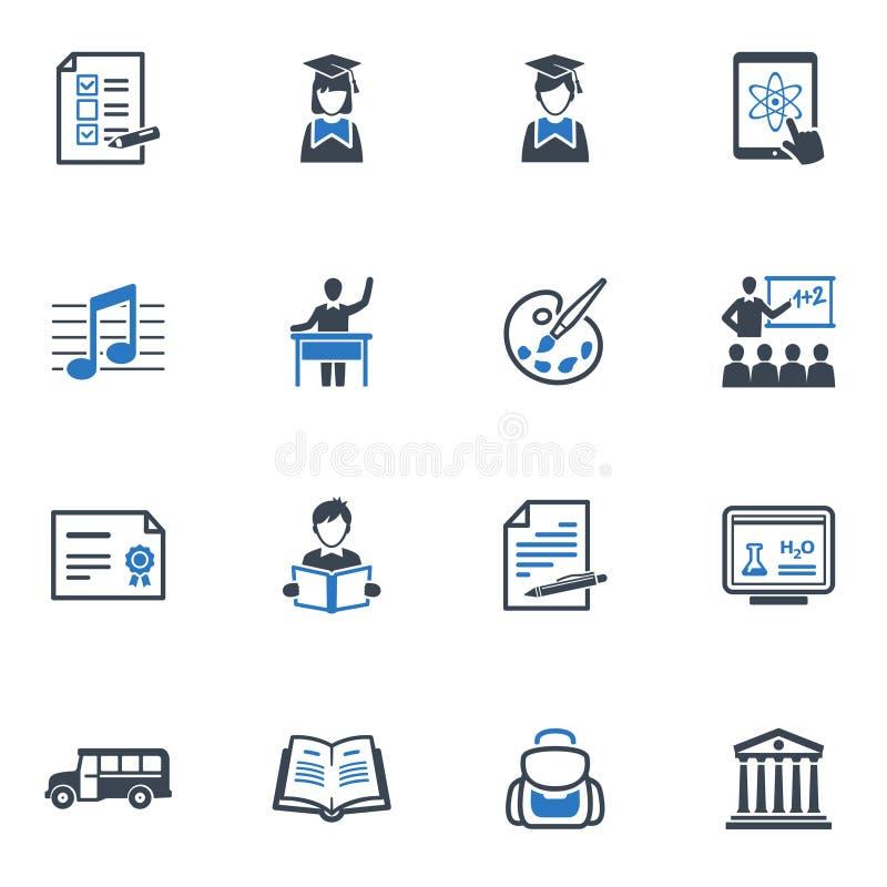 Les icônes d'école et d'éducation ont placé 2 - série bleue illustration stock