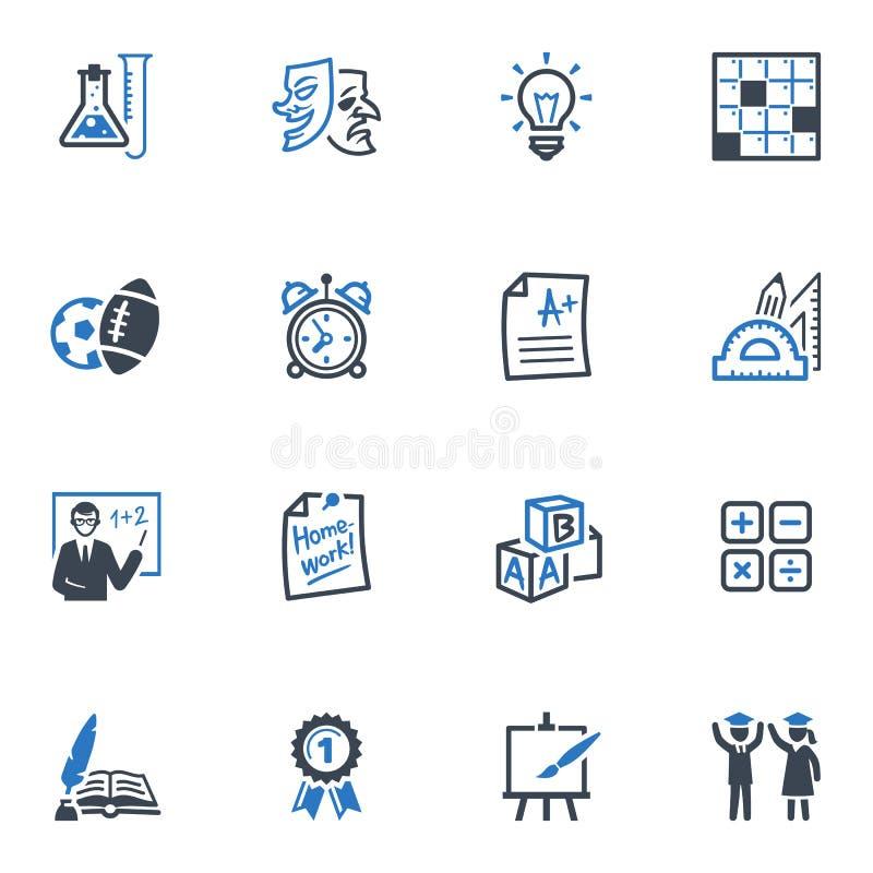 Les icônes d'école et d'éducation ont placé 4 - série bleue illustration de vecteur