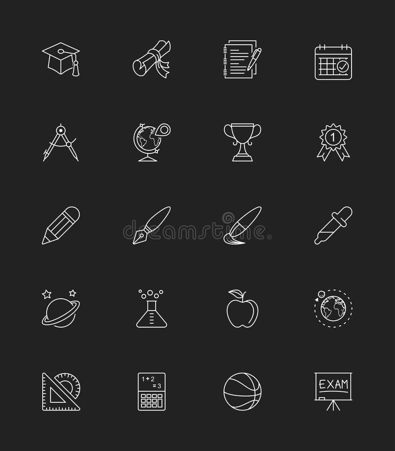 Les icônes d'école et d'éducation placent 2, ligne mince - dirigez l'illustration illustration de vecteur
