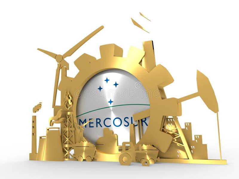 Les icônes d'énergie et de puissance ont placé avec le drapeau de MERCOSUR illustration de vecteur