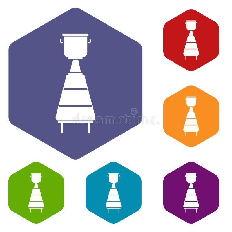 Les icônes d'équipement de distillerie de vin ont placé l'hexagone illustration libre de droits