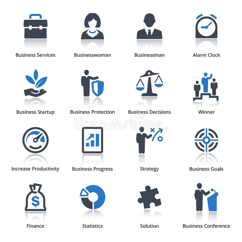 Les icônes d'affaires ont placé 1 - série bleue illustration stock