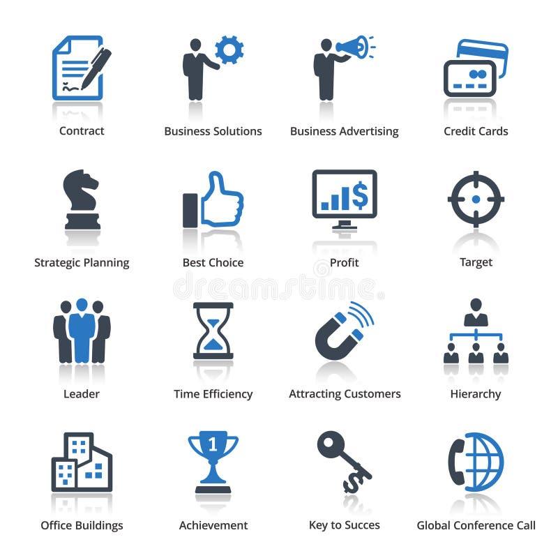 Les icônes d'affaires ont placé 2 - série bleue illustration stock