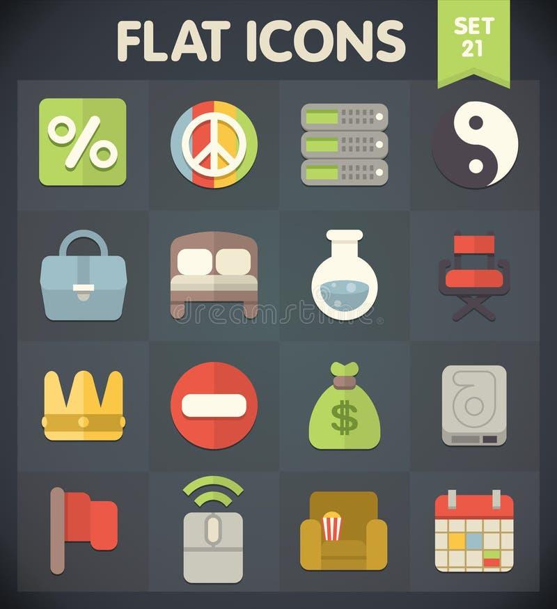 Les icônes d'appartement universel pour le Web et le mobile ont placé 21 illustration de vecteur