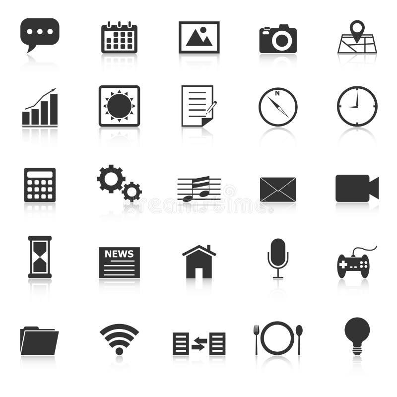 Les icônes d'application avec réfléchissent sur le fond blanc illustration stock