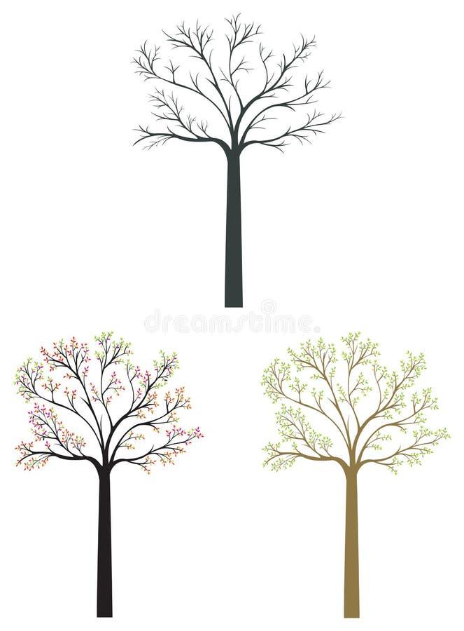 Les icônes d'arbre de silhouette dans la saison différente ont placé avec illustration de vecteur