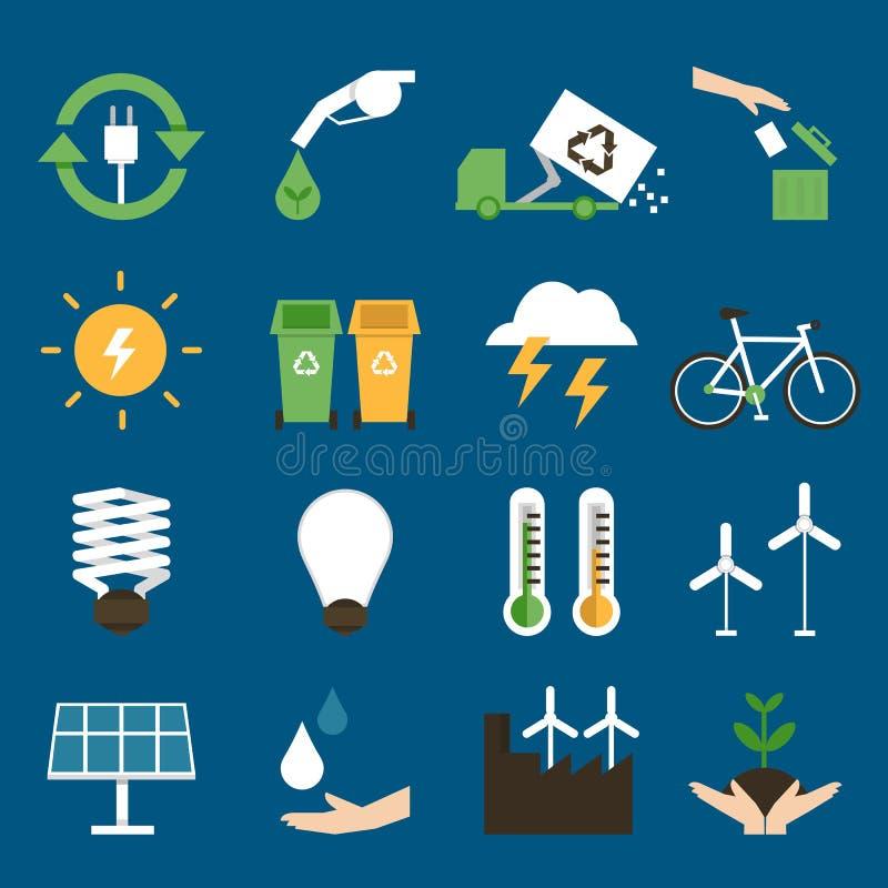 Les icônes d'Eco ont placé II illustration stock