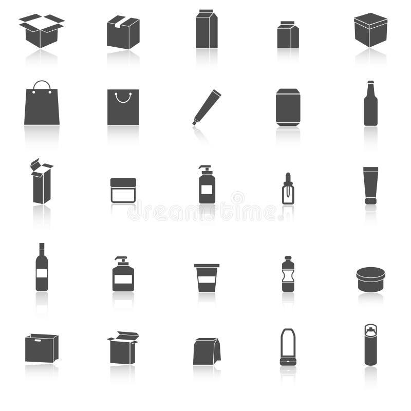 Les icônes d'emballage avec réfléchissent sur le fond blanc illustration libre de droits