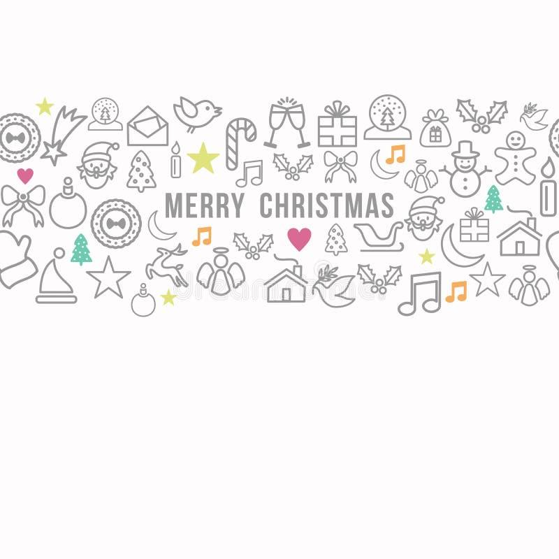 Les icônes d'ensemble de modèle de Joyeux Noël ont placé le fond de carte illustration stock