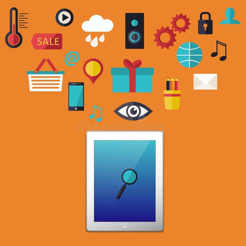 Les icônes d'infographics de Web ont placé avec la Tablette de pavé tactile pour le site d'affaires, les présentations etc. illustration stock