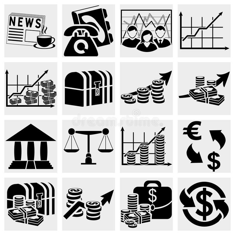 Icônes d'affaires et de finances illustration libre de droits