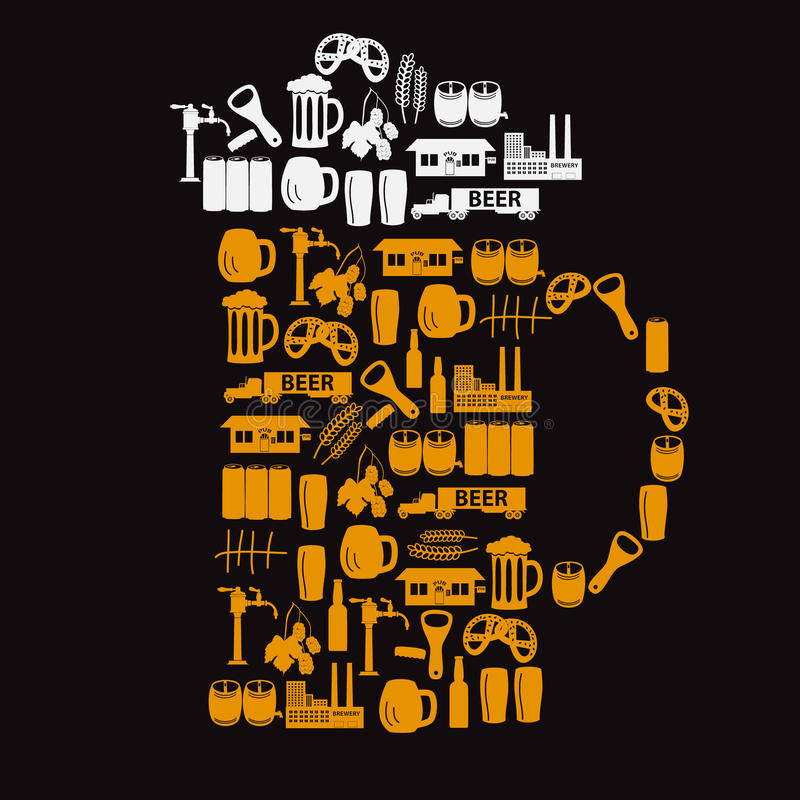 Les icônes de bière aiment un verre de bière illustration stock
