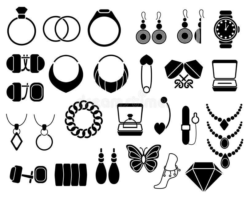 Les icônes de bijoux ont placé pour votre site, d'isolement sur le blanc illustration libre de droits