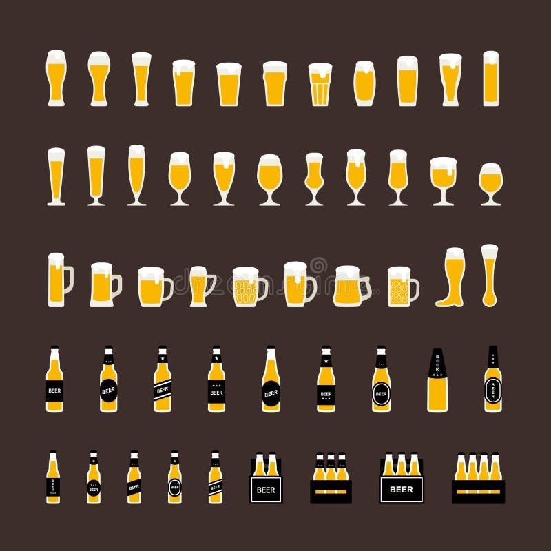 Les icônes de bouteilles et en verre à bière ont placé dans le style plat Vecteur illustration stock