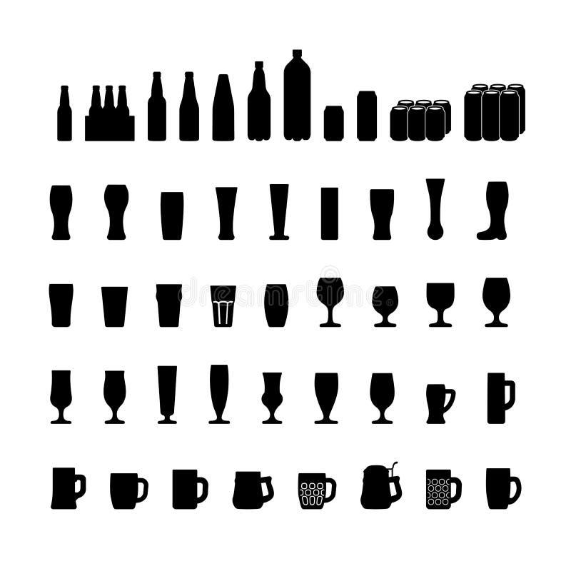 Les icônes de bouteilles et en verre à bière ont placé, silhouette noire Vecteur illustration stock